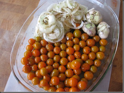 Pre-roasted Cherry Tomatoes, Garlic, and Onions